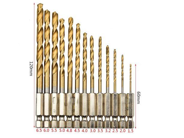 Сверла набор 13 штук +нитрид титана с шестигранным 1/4″для шуруповерта