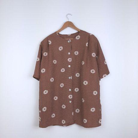 Karmelowa koszula na guziki brązowa kwiaty vintage oversize jedwab