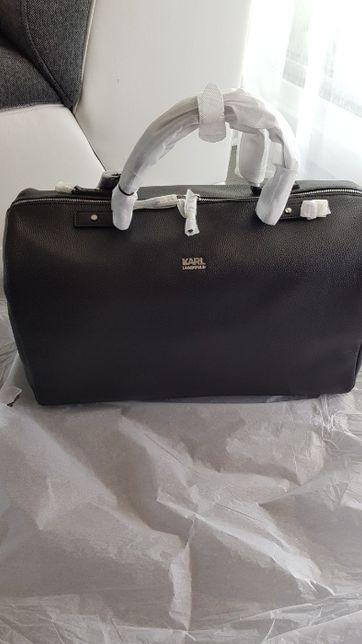 Oryginalna, skórzana torba podróżna Karl Lagerfeld