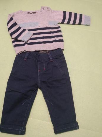 Calças ganga e camisola 62cm