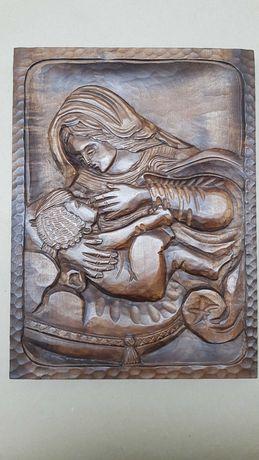 Drewniana rzeźba, Matka boska, handmade PL, rękodzieło