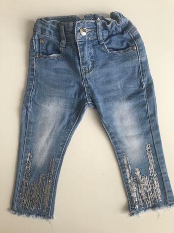 jeansy z cekinami 6-12m