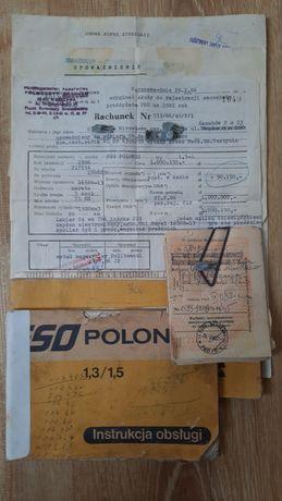 Dokumenty kolekcjonerskie Polonez 1986 książka gwarancyjna