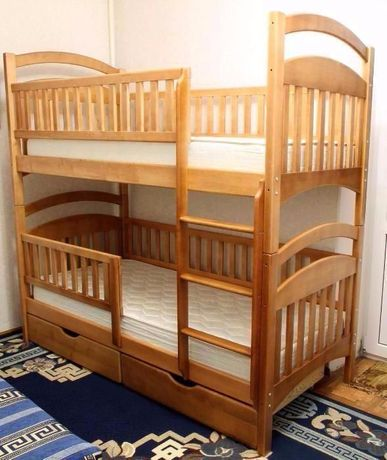 Двухъярусная ( Двухьярусная ) кровать Карина с дерева ольха .