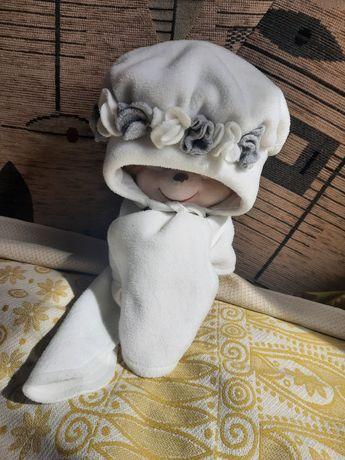 Флисовая шапочка с шарфиком