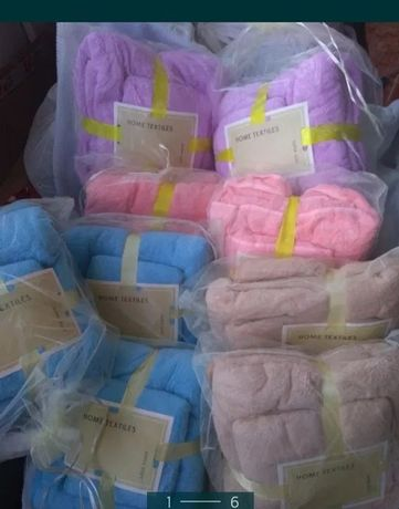 Бамбуковые, махровые полотенца в подарочной упаковке 2 шт, шапочка