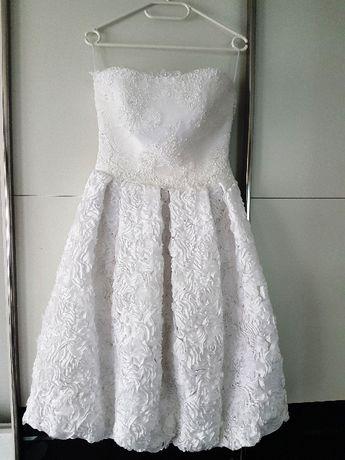 sukienka suknia ślubna 36 38 S M biała bombka wesele poprawiny koronka