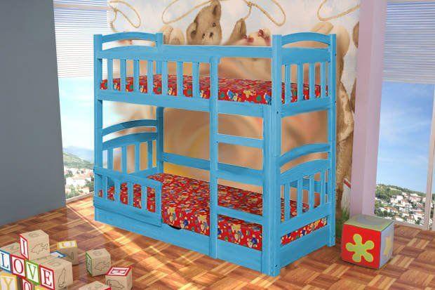 Dwuosobowe łóżko piętrowe Michałach z pojemnikiem, materace w zestawie