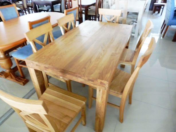 (15)Stół 140x80+40 dąb + 6 krzeseł cena 4180zł