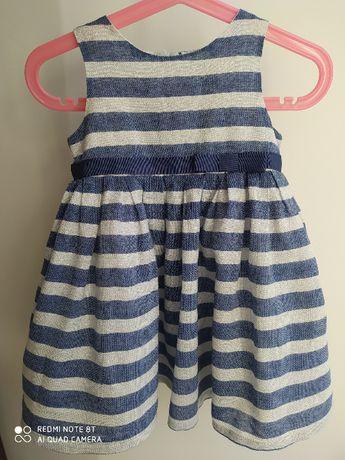 sukienka Cool Club r80 niebieska ze srebrną nitką w pasy