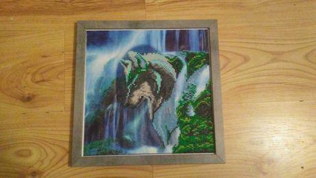 Obraz z wilkiem - haft diamentowy