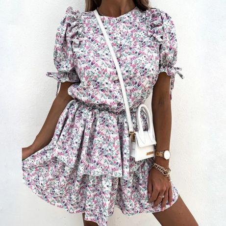 Sukienka z falbankami w kwiaty na krótki rękaw, rozmiar S