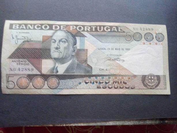 1 nota de 5000$  1983 António Sérgio rara e Bela ver foto