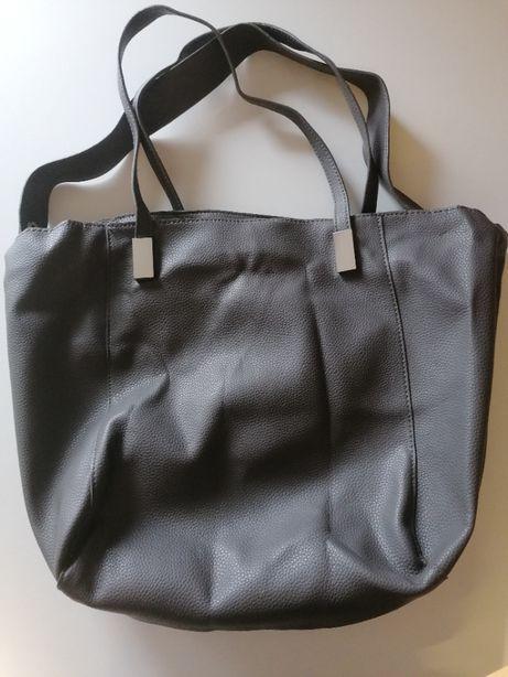 Skórzana torebka - szara - shopper - mieści A4