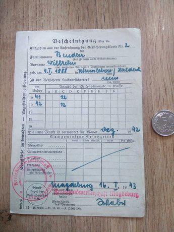 Dokument Niemiecki z drugiej wojny światowej.
