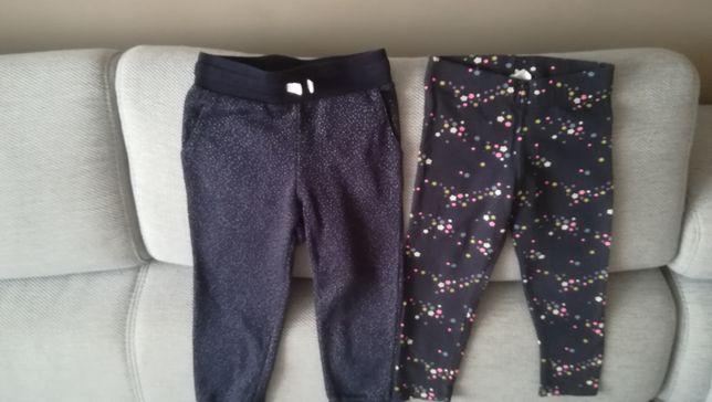 H&m Zestaw 2szt spodnie dresowe, leginsy dla dziewczynki w rozm. 92
