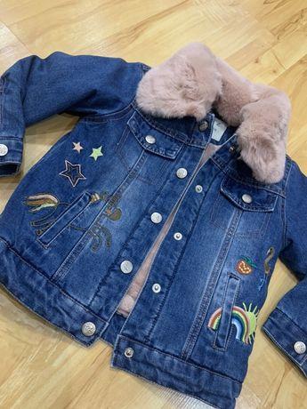 Детская джинсовая утепленная куртка с вишивкой. Размеры от 2-х до 8-ми