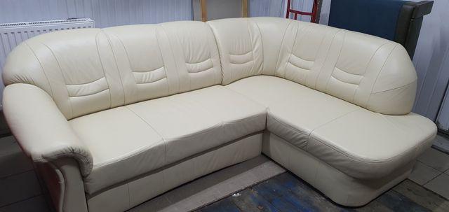 Narożnik skórzany kanapa sofa skóra rogówka jak nowy funkcja spania