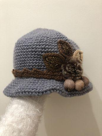 czapka damska kapelusz szary brązowy elegancki ciepły piękny modny