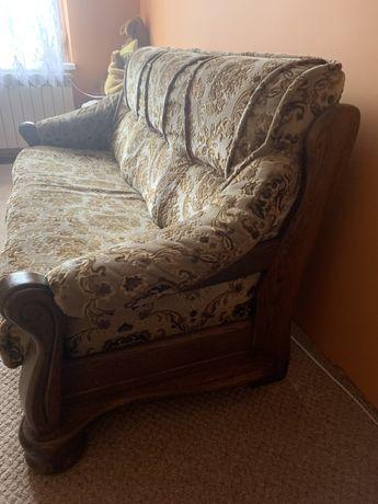 Trzyosobowa sofa z funkcja spania plus dwa fotele dębowy stelaż
