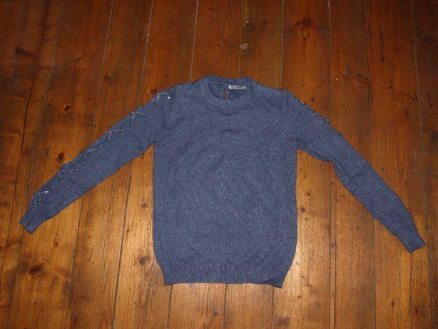 Nowy miękki i ozdobny sweter S/M kolor morski wiosenny