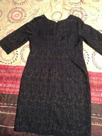 Жаккардовое темно-синее платье футляр minova 52 р