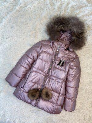 Шикарная зимняя куртка премиум качество Нат. мех