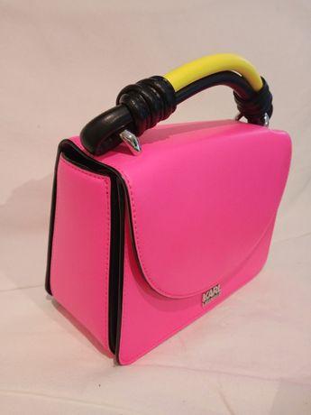 Różowa torebka na ramię Karl Lagerfeld,długi pasek,krótka żółta raczka