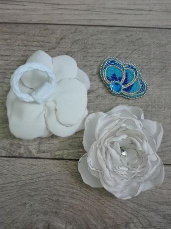 Бантик - цветок на резинке на волосы, ручная работа