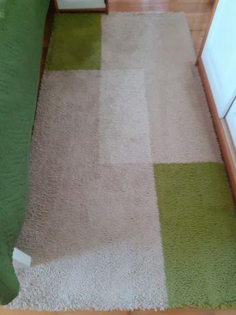 2 dywany beż/ecru/zieleń 100x200 typu shaggy