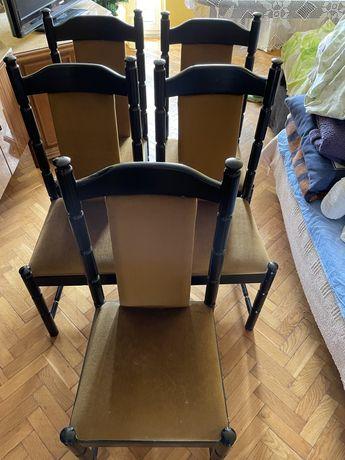 Stół duży ciemny brąz rozkladany + 5 krzeseł czarnych zestaw