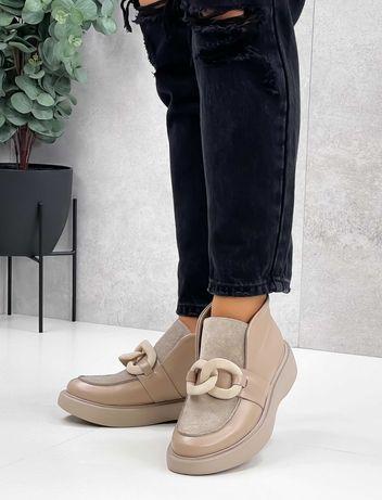 Кожаные ботинки лоферы