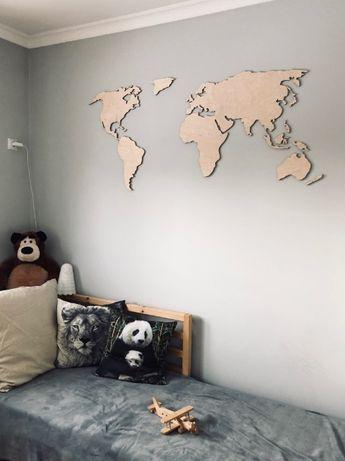 Drewniana Mapa świata 3D - 140x70cm