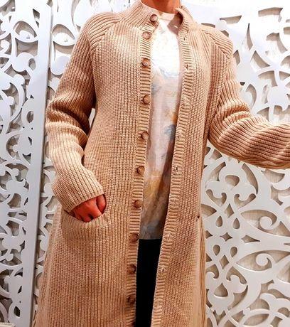 Шерстяной из Исландии Кардиган M L пальто 100% шерсть эксклюзив свитер