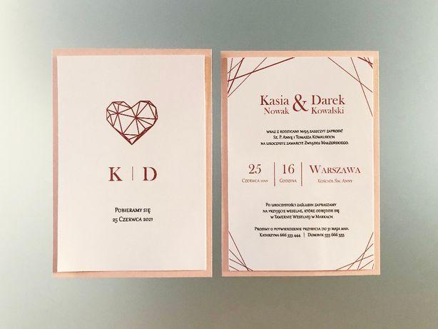 Zaproszenia ślubne na podkładce - Geometryczne Serce Róż