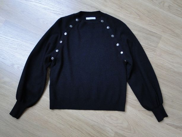 czarny sweter bufiaste rękawy MANGO zara 36 38 napy