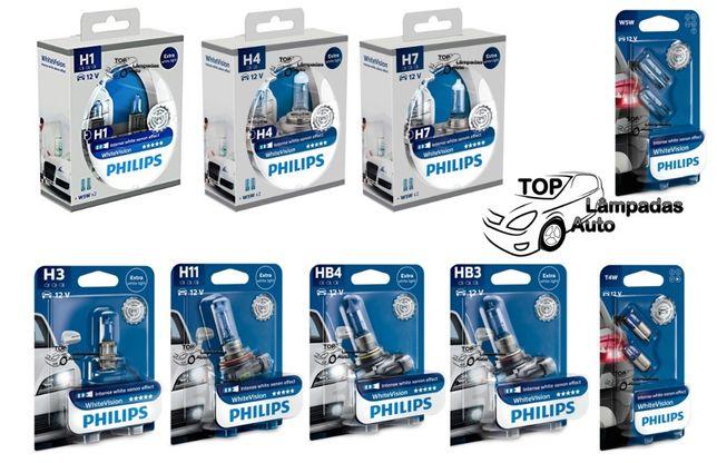 Lâmpada Philips White Vision +60% ,H1,H3,H4,H7,H11,HB3,HB4,W5W,T4W