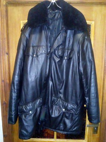 Кожаная зимняя куртка.