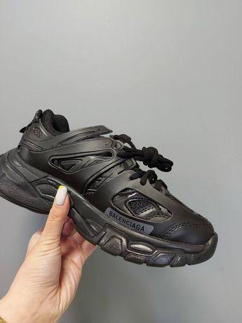 Женские черные кроссовки Balenciaga Track Black баленсиага кожа лето