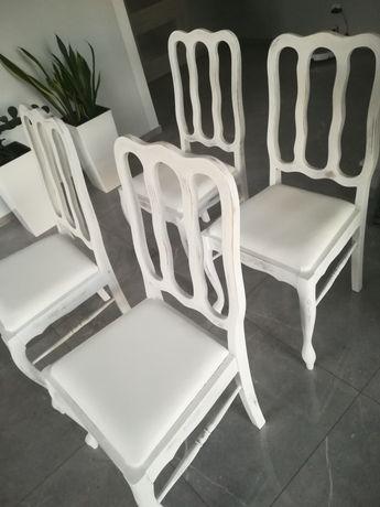 Krzesła ludwik białe rustykalne