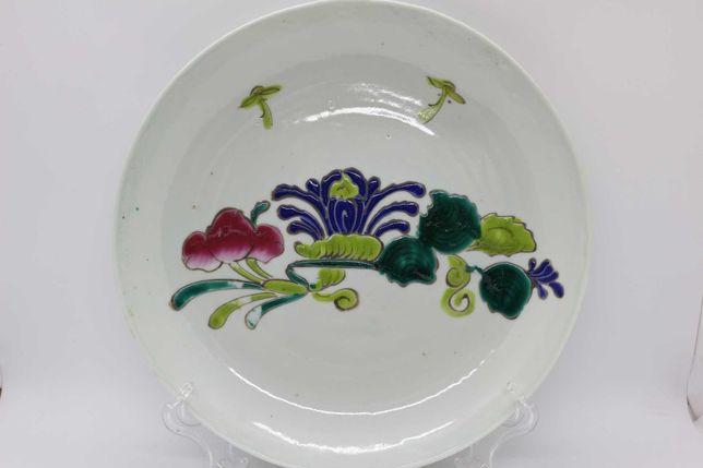 Prato Porcelana Chinesa motivos Florais em tons Verde XIX
