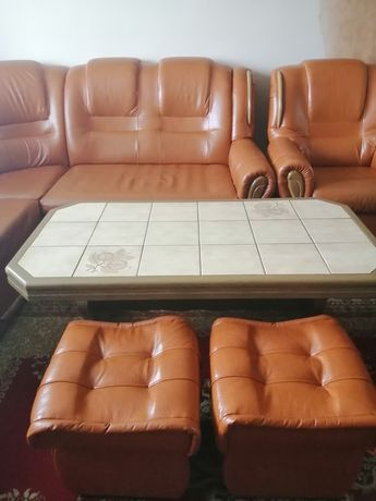 Narożnik +2 fotele +2 pufy