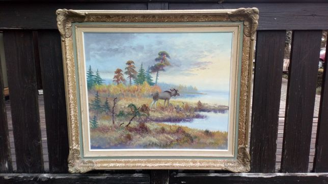 Obraz olej płótno pejzaż łoś las natura przyroda rama jezioro sztuka