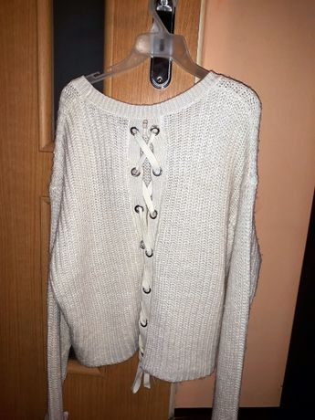 sweter biały ecru sznurowanie z tyłu FB Sister New Yorker L sznurowan