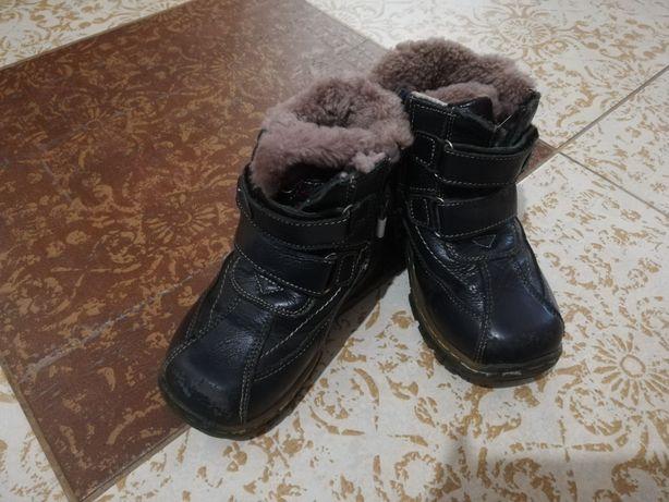 Зимние сапоги кожаные с нат мехом Топтыжка