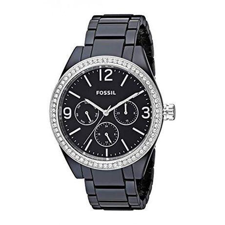 Zegarek damski czarny srebrny Fossil BQ3342 caleigh