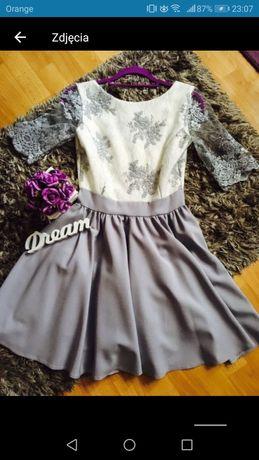 Szara koronkowa sukienka S