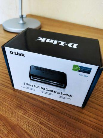 Комутатор, світчер D-Link 5 port 10/100 Desktop Switch новий