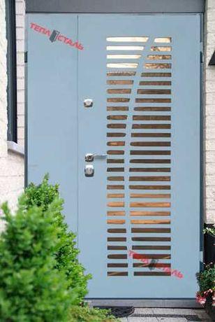 Двері вхідні ТЕПЛОСТАЛЬ посилені металеві ТС33(RAL7040)(дуб сірий)
