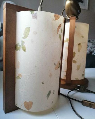 Lampa sufitowa i lampka nocna drewno papier czerpany motyw roślinny